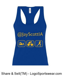 Women's Tri-It-All Tank Blue with Gold Design Zoom