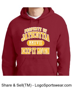 "2018 Jayscottia ""Keep it Moving"" hoodie. Cardinal/Gold Design Zoom"