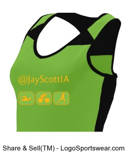 Women's Moisture wicking tri-it-all tank Green with Gold Design Zoom